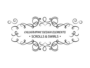 Vector Calligraphic Swirls Frame Template, Text Decoration For Certificate, Greeting Cards, Black and White Illustration.