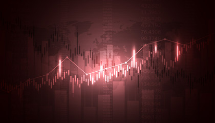 Economic graph with diagrams on the stock market, for business and financial concepts and reports. Abstract red vector background.