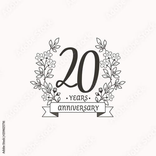 anniversary logo template with ribbon and flowers 20 years fotolia