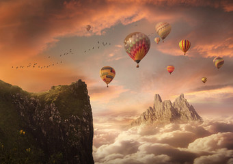 Fantasy sky with mountains and balloons