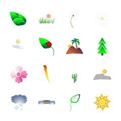 icon Nature with daisy, ocean, sun mountain, garden and mountain