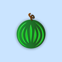 Vector illustration, green with stripes watermelon in papercut style with transparent shadows isolated on blue background