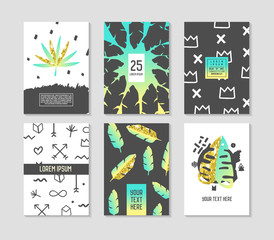 Abstract Tropical Poster Templates Set with Palm Leaves and Golden Elements. Hipster Fashion 80s-90s Memphis Style Brochure Banners Flyer. Vector illustration