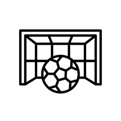 football goal icon. goalpost with ball illustration. simple outline style sport symbol.