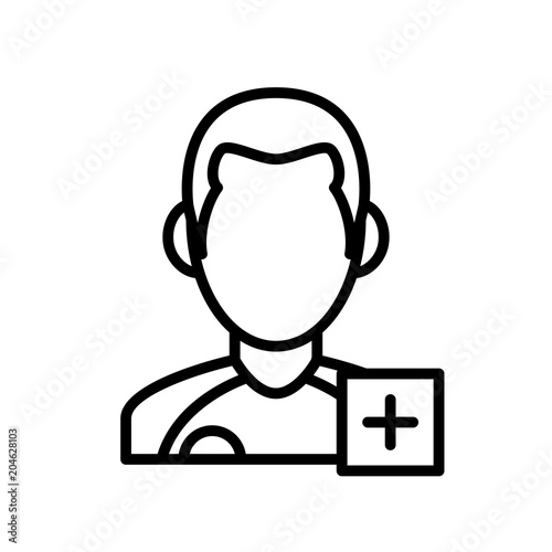 Injured Player Icon Man With Plus Mark Simple Illustration Outline