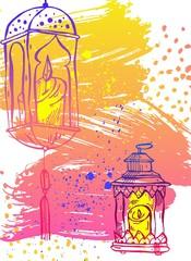 Hand draw Ramadan Kareem lettering,latern and Lamp greeting card.Ramadan Kareem vector background.Card template for ramadan holiday,ramadan celebration,ramadan muslim,ramadan festival,ramadan greeting