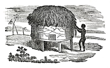 Man from Cumbry people builds a house; Middle Niger Region, Northern Nigeria,  Western Africa (from Das Heller-Magazin, October 23, 1834)