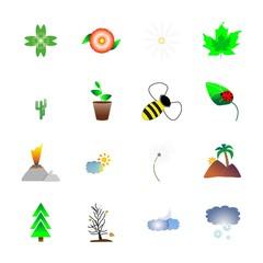 icon Nature with cactus, magma, pot, ladybug and bumblebee