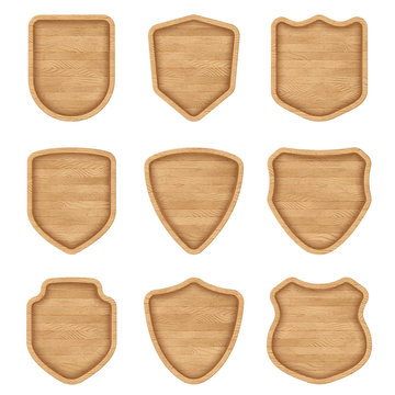 Set of realistic wooden sign plates with texture. Medieval shield signs for restaurants, pubs, bars. Blank banners with bold frames. Eps10 vector