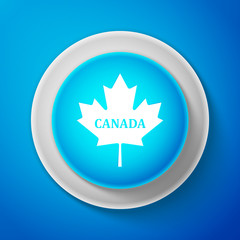 White Canadian maple leaf with city name Canada icon isolated on blue background. Circle blue button with white line. Vector Illustration