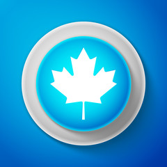 White Canadian maple leaf icon isolated on blue background. Canada symbol maple leaf. Circle blue button with white line. Vector Illustration