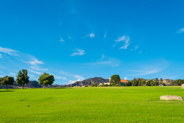 Green meadow and blue sky in Central California