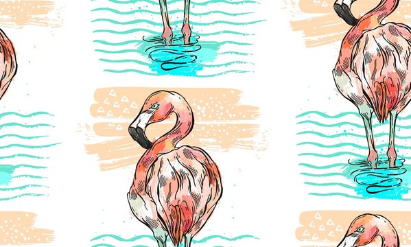 Hand drawn vector seamless summer textured pattern of flamingo,who stand in blue ocean waves.