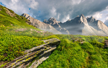 composite image of rocky peaks and rocks on hillside in High Tatras. Beautiful mountain landscape in summer