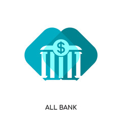 all bank logo isolated on white background , colorful vector icon, brand sign & symbol for your business