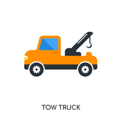 tow truck logo isolated on white background , colorful vector icon, brand sign & symbol for your business