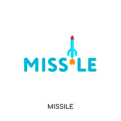 missile logo isolated on white background , colorful vector icon, brand sign & symbol for your business
