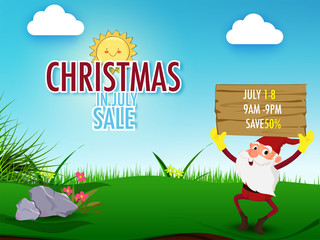 Christmas in July fest, sale banner, poster or flyer design with happy Santa Claus holding wooden banner of sale details, nature background.