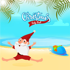 Christmas in July fest, sale banner, poster or flyer design with Santa Claus jumping in joy, beach background.