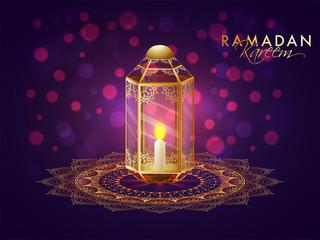 Illuminated lantern on floral patterned background.