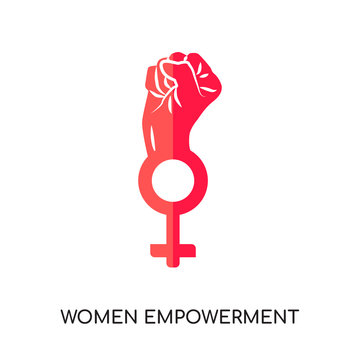 women empowerment logo isolated on white background , colorful vector icon, flat sign and symbol
