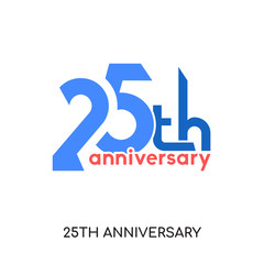 25th anniversary logo images isolated on white background , colorful vector icon, brand sign & symbol for your business