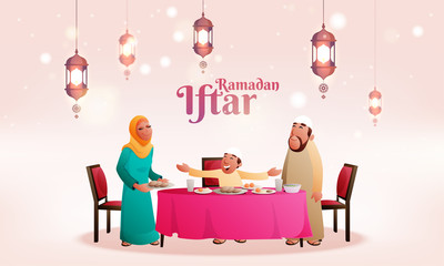 Beautiful invitation card design for Iftar on holy month of Ramadan with muslim family enjoying feast with hanging lanterns.