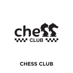 chess club logo isolated on white background , colorful vector icon, brand sign & symbol for your business