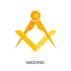 masonic logo vector icon isolated on white background, colorful brand sign & symbol for your business
