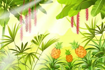 Game landscape with tropical jungle scene. Background vector illustration.
