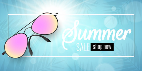 Advertising web banner for summer sale. Beach sunglasses in a white frame on a blue background. Glare bokeh. Leaves of a palm tree. Special offer. Vector illustration