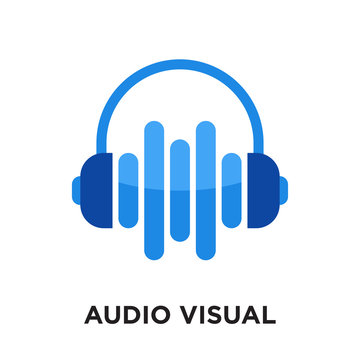 audio visual logo isolated on white background , colorful vector icon, brand sign & symbol for your business