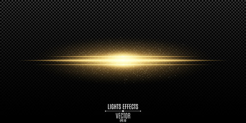 Abstract magic stylish light effect on a transparent background. Gold flash. Luminous flying dust. Vector illustration Wall mural