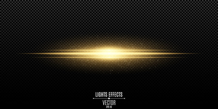 Abstract magic stylish light effect on a transparent background. Gold flash. Luminous flying dust. Vector illustration