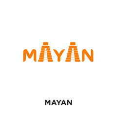 mayan logo isolated on white background , colorful vector icon, brand sign & symbol for your business