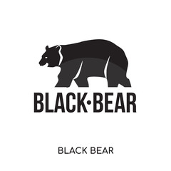 black bear logo isolated on white background , colorful brand sign & symbol for your business