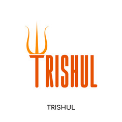 trishul logo isolated on white background , colorful vector icon, flat sign and symbol