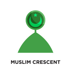 muslim crescent logo isolated on white background , colorful vector icon, brand sign & symbol for your business