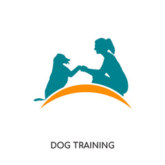 dog training logo ideas isolated on white background , colorful vector icon, brand sign & symbol for your business
