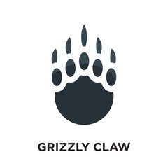 grizzly claw logo isolated on white background , colorful vector icon, brand sign & symbol for your business