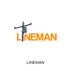 lineman logo isolated on white background , colorful vector icon, brand sign & symbol for your business