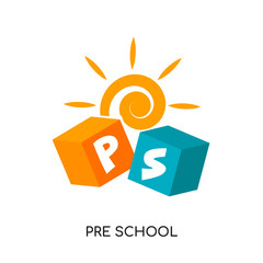 pre school logo isolated on white background , colorful vector icon, brand sign & symbol for your business