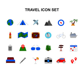 Color icons set. Travel pack. Vector illustration