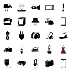 icons about Electronic with toast, running, dispencer, plate and restaurant