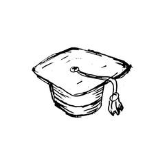 Handdrawn hat doodle icon. Hand drawn black sketch. Sign symbol. Decoration element. White background. Isolated. Flat design. Vector illustration