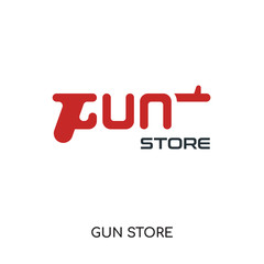 gun store logo isolated on white background , colorful vector icon, brand sign & symbol for your business