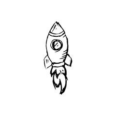 Handdrawn rocket doodle icon. Hand drawn black sketch. Sign symbol. Decoration element. White background. Isolated. Flat design. Vector illustration