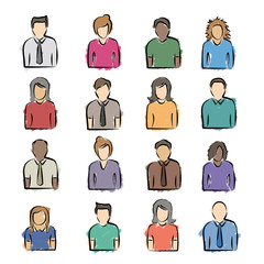 A diversity of colorful sketched people icons