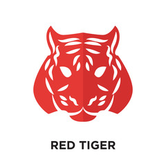 red tiger logo isolated on white background , colorful vector icon, brand sign & symbol for your business