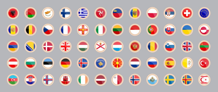 Flags of the countries of Europe. Set of icons.